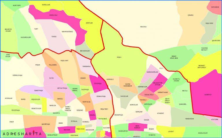 mahalle ve ilçe bölgeleri