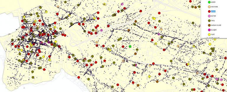 önemli yerler,harita,cbs,yoğunluk,gis,işyeri,dükkan,cami,okul,poi,yol,seçim,2019